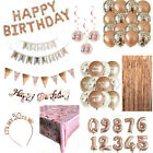 Rose Gold Happy Birthday Bunting Banner Decorations Balloons Confetti Foil