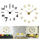 3D DIY Large Wall Clock Kit Mirror Surface Sticker Arabic Roman Numbers Home Dec