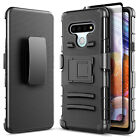 For LG K51 Case Belt Clip Kickstand Phone Cover + Tempered Glass Protector