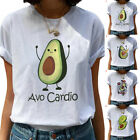 Women Cute Avocado T-shirt Cotton Crew Neck Tops Casual Summer Tees Funny Tops