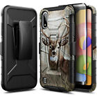 For Samsung Galaxy A01 Case, Belt Clip Holster Phone Cover + Tempered Glass
