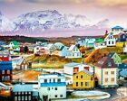 Iceland Stykkisholmur Town Scenery Landscape Painting Paint By Numbers Kit DIY