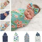 2Pcs/Set Newborn Baby Receiving Blanket Headband/Hat Cotton Swaddle Wrap Towel