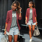 Women Casual Red Plaid Coat Lapel Blazer Suit Ladies Long Sleeve Formal Outwear