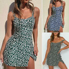 Womens Ladies Sexy Floral Strappy Mini Dress Summer Party Bodycon Sexy Sundress