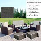 Garden Rattan Sofa  Set  Of 6pcs Patio Conservatory 4 Seater Armchairs Footstool