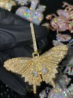 Mens Ice Out Famous Iced Butterfly Big Charm Pendant For Upto 20MM Cuban Chain