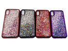 For Iphone X S Xr Xmax 7 8 Plus Case Liquid Glitter Bling Phone Cover + Glass