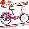 Adult 7Speed Tricycle 24in Trike Cruise Bike 3Wheel Cycle W/Basket Exercise Gift