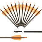 """6/12/24X 7.5inch Carbon Crossbow Bolts Arrows 2"""" Vanes Archery Crossbow Hunting"""