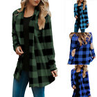 US Women Buffalo Plaid Long Sleeve Hip Length Open Front Elbow Patch Cardigans