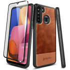 For Samsung Galaxy A21 Case Shockproof Leather Phone Cover + Tempered Glass