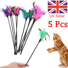 5Pcs Cat Pet Toy Kitten Funny Teaser Stick Interactive Wand Feather Bell Rod UK