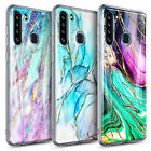For Samsung Galaxy A21 Case Shockproof Flexible Tpu Marble Cover +tempered Glass