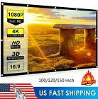 100-150'' Foldable Projector Screen 16:9 HD Anti-Crease Home 3D Cinema Theater