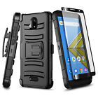 For Cricket Vision 2 Case, Belt Clip Holster Cover + Tempered Glass Protector