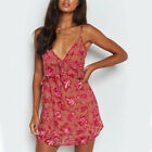 Womens V Neck Ruffle Mini Straps Summer Beach Sundress Sleeveless A-Line Dress