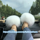 White- Women's Slippers Real Fox Fur Slides Sandals Furry Indoor Outdoor Shoes