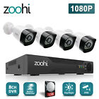 Zoohi 8CH 1080P Security Camera System Outdoor 5 IN 1 DVR IR 1TB Hard Drive CCTV