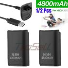 1-2Pack Battery  Charger Cable for Microsoft Xbox 360 Wireless Controller Black
