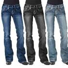 Womens Bootcut Jeans Stretch Flared Wash Denim Trousers Long Pants Size 6-20