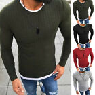 Mens Fashion Warm Knitted Sweater Long Sleeve Solid Slim Pullover Jumper Tops
