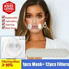 Reusable Clear Face Masks With +12pc Filter Anti-droplets Respirator Mouth Cover