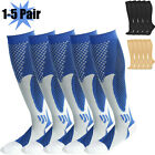 1-5 Pairs Copper Compression Socks 20-30mmhg Graduated Support Mens Womens Blue