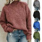 Womens Thick Knitted Turtleneck Sweater Long SleeveLoose Warm Pullover Jumpers