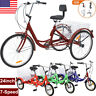 """Adult Tricycle 24"""" 7 Speed 3 Wheel Cruise Bike with Large Basket & Backrest Seat"""
