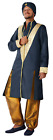 Mens Navy Gold Bollywood Hindu International Film Fancy Dress Costume Outfit