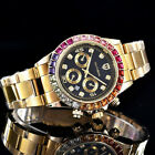 Southberg Quartz Watch With Rainbow Bezel On Bracelet Gold Iced Out Gold Watch