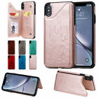 For iPhone X XS Max XR Magnetic Buckle Leather Case Card Slot Shockproof Cover