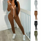 Women Hooded Long Sleeves Zipper Solid Color Bodycon Party Club Casual Jumpsuit