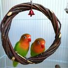 Pet Rattan Hoop Hanging Cage Climb Swing Perches Chew Bite Ring with Bell Toy
