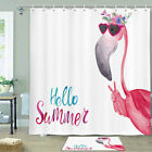 Flamingo And Summer Shower Curtain Bathroom Decor Fabric 12hooks 71in