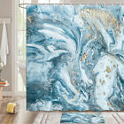 Abstract Blue Gold Marble Shower Curtain Bathroom Decor Fabric 12hooks 71in