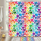 Creative Colored Heart Shower Curtain Bathroom Decor Fabric 12hooks 71in