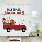Red Truck And Baseball Shower Curtain Bathroom Decor Fabric 12hooks 71in