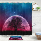 Moon, Starry Sky, Dead Tree Shower Curtain Bathroom Decor Fabric 12hooks 71in