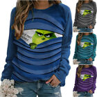 Womens Christmas The Grinch Funny Print Jumper Crew Neck Sweatshirt Casual Tops