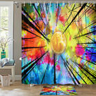 Psychedelic Golden Full Moon Shower Curtain Bathroom Decor Fabric 12hooks 71in