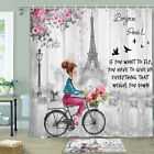 Girl Riding A Bike Shower Curtain Bathroom Decor Fabric 12hooks 71in