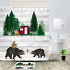 Funny Cat And Bear Shower Curtain Bathroom Decor Fabric 12hooks 71in
