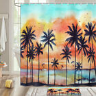 Sunset Sunset Coconut Tree Shower Curtain Bathroom Decor Fabric 12hooks 71in