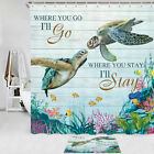 Coral Reef Turtle Shower Curtain Bathroom Decor Fabric 12hooks 71in