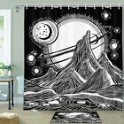 Mountain Peaks And Full Moon Shower Curtain Bathroom Decor Fabric 12hooks 71in