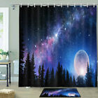 Milky Way And Forest Shower Curtain Bathroom Decor Fabric 12hooks 71in