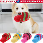 Striped Plush Slipper Shaped Squeaky Pet Toy Puppy Dog Sound Chew Play Toy UK