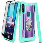For Motorola Moto E 2020 / E7 Phone Case Metal Ring Stand Cover + Tempered Glass